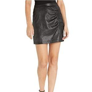 Free People Rumi ruched NWT vegan mini skirt L